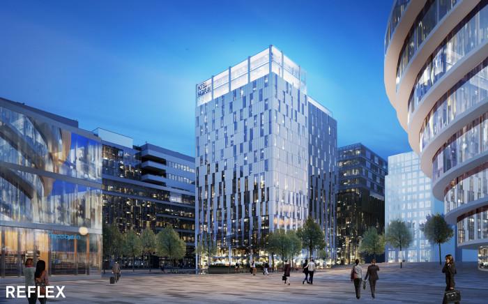 Skanska utvecklar en hotell- och kontorsbyggnad i Hagastaden